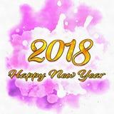 Números da aquarela 2018 Fotos de Stock