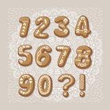 Números da cookie do Natal Pia batismal de vetor ilustração stock