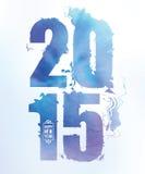 2015 números da cor de água do ano novo feliz Fotos de Stock