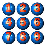Números da esfera do ícone Fotos de Stock Royalty Free