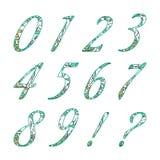 Números da garatuja com teste padrão floral abstrato Imagens de Stock Royalty Free