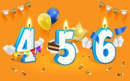 Números da vela do aniversário Ilustração do clipart do vetor Isolado no fundo branco Imagens de Stock