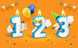 Números da vela do aniversário Ilustração do clipart do vetor Isolado no fundo branco Fotografia de Stock