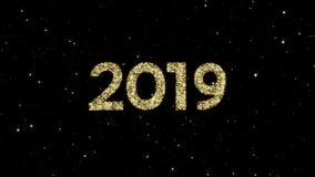 2019 números das partículas de brilho do ouro formaram em um fundo animado do ano novo feliz do feriado video estoque