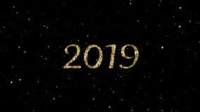 2019 números das partículas de brilho do ouro formaram em um fundo animado do ano novo feliz do feriado ilustração do vetor