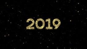 2019 números das partículas de brilho do ouro formaram em um fundo animado do ano novo feliz do feriado ilustração stock