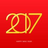 2017 números de Año Nuevo en fondo rojo de la pendiente Imagen de archivo libre de regalías