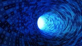 Números de código binário no movimento abstrato azul da velocidade no túnel da estrada com o alargamento claro para a tecnologia  ilustração stock