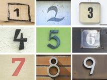 Números de casa originales 1 a 9 Imágenes de archivo libres de regalías