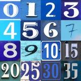 Números de coleção azuis no fundo diferente Imagem de Stock