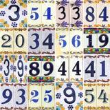 Números de coleção em telhas com flores Imagens de Stock Royalty Free