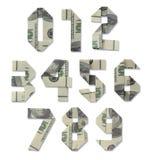 Números de contas de cem-dólar Imagem de Stock