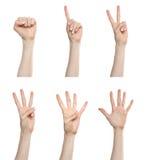 Números de cuenta determinados del gesto de mano Fotografía de archivo
