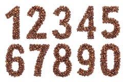 Números de feijões de café Feijões de café da fonte Fotos de Stock Royalty Free