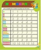 Números de 0 a 9, hoja de la práctica del trazo de la escritura, escribiendo el entrenamiento para los niños, actividad preescola ilustración del vector