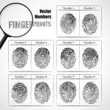 Números de huella dactilar. Foto de archivo