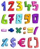 números de la historieta 3d ilustración del vector