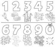 Números de la historieta fijados con el libro del color de los animales ilustración del vector