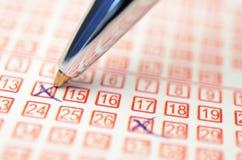 Números de la lotería Imágenes de archivo libres de regalías