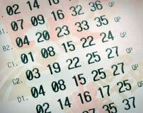 Números de la lotería Imagen de archivo
