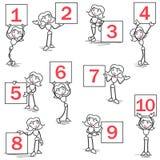 Números de la muestra de la muchacha del anillo de Stickman