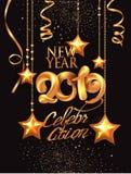 Números de las decoraciones 2019 y de volumen del withgold de la tarjeta de la invitación de la celebración del Año Nuevo stock de ilustración