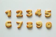Números de las galletas en el fondo blanco Imagen de archivo