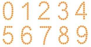 Números de las rebanadas anaranjadas aisladas en blanco Fotografía de archivo libre de regalías