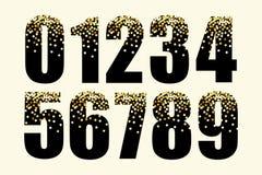 Números de lujo festivos con confeti de oro del brillo del encanto ilustración del vector