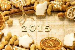2015 números de madeira Fotos de Stock Royalty Free
