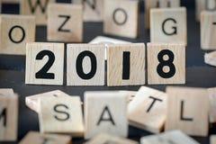 Números de madeira 2018, ano novo Fotografia de Stock Royalty Free