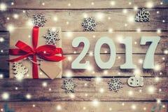 Números de madeira que formam o número 2017, pelo ano novo 2017 Fotos de Stock Royalty Free