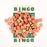Números de madeira usados para o bingo Fotos de Stock Royalty Free
