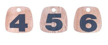Números de madera 4 5 6 Imagen de archivo