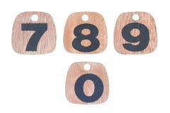 Números de madera 7 8 9 0 Imagenes de archivo