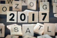 Números de madera 2017, Año Nuevo Imágenes de archivo libres de regalías