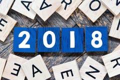 Números de madera 2018, Año Nuevo Imagen de archivo