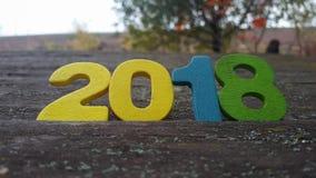 números de madera que forman el número 2018 Fotografía de archivo