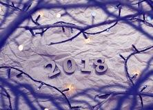 Números de madera que forman el número 2018, las ramas y la Navidad l Imágenes de archivo libres de regalías