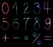 Números de néon Foto de Stock