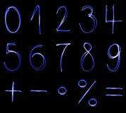 Números de neón azules Fotografía de archivo