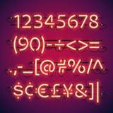 Números de neón de la barra que brillan intensamente Fotos de archivo