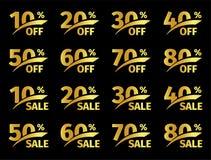 Números de oro con porcentaje en un fondo negro Oferta promocional del negocio para los compradores El número de descuentos adent stock de ilustración