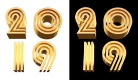2019 números de oro del ejemplo 3D aislados en la muestra isométrica transparente del Año Nuevo del fondo d para saludar, foto de archivo