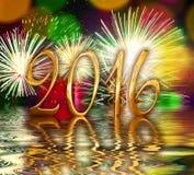 2016 números de oro, fuegos artificiales Imagenes de archivo