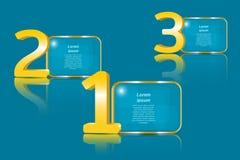 Números de oro grandes 3D y los paneles transparentes para el texto Fotos de archivo