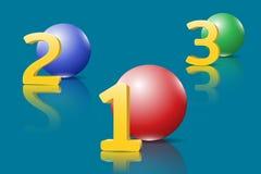 Números de oro grandes 3D y tres esferas brillantes Fotos de archivo