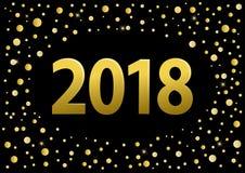 Números de oro de la Feliz Año Nuevo 2018 sobre fondo negro con confeti de oro ilustración del vector