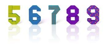 Números de papel do origâmi ajustados Foto de Stock