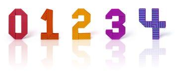 Números de papel do origâmi ajustados Imagem de Stock Royalty Free